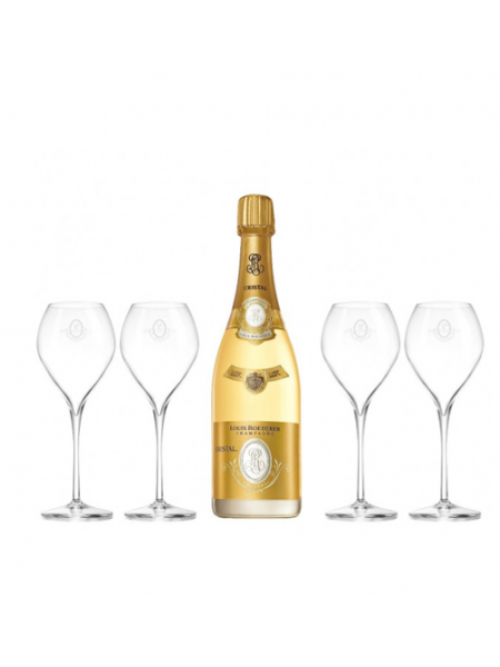 LOUIS ROEDERER CRISTAL 2013 WITH 4 PCS CRYTAL CHAMPAGNE GLASSES