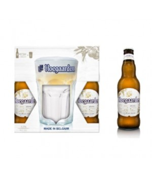 HOEGAARDEN WIT-BLANCHE (WHITE BEER) SET OF 5 X 33CL AND 1 GLASS